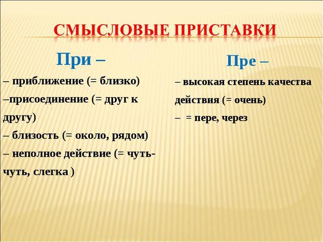 При – – приближение (= близко) –присоединение (= друг к другу) – близость (=...