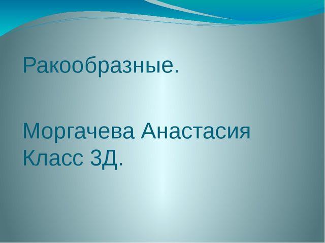 Ракообразные. Моргачева Анастасия Класс 3Д.