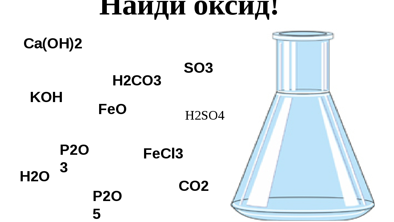 Найди оксид! SO3 Ca(OH)2 FeO H2O H2CO3 KOH P2O5 CO2 FeCl3 P2O3 H2SO4