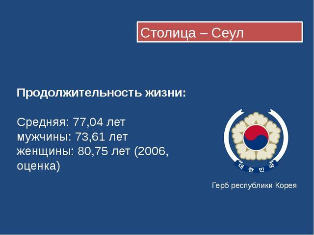 Столица – Сеул Герб республики Корея Продолжительность жизни: Средняя:77,04...