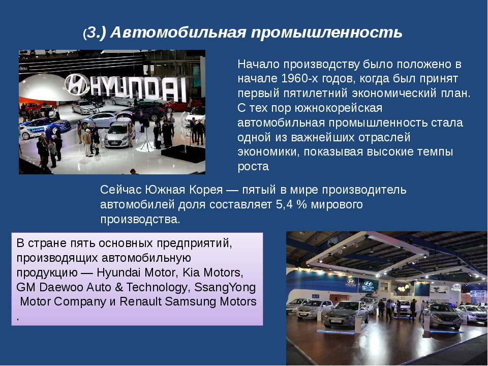 (3.) Автомобильная промышленность Сейчас Южная Корея — пятый в мире производ...