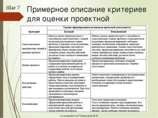 Примерное описание критериев для оценки проектной деятельности Шаг 7 по разра