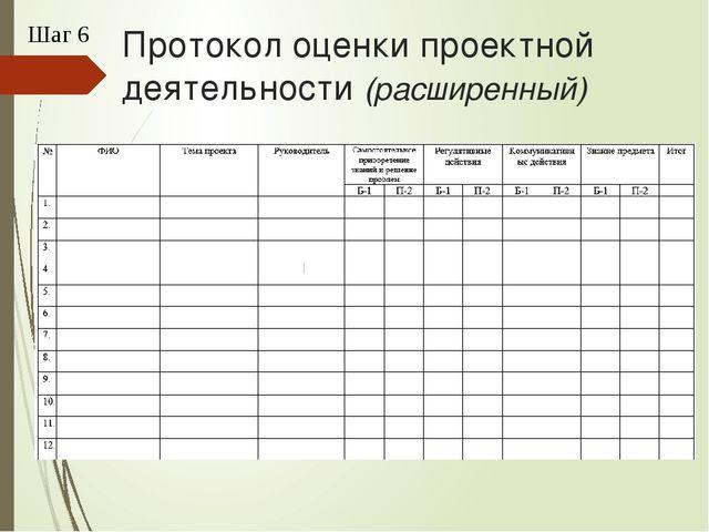 Протокол оценки проектной деятельности (расширенный) Шаг 6