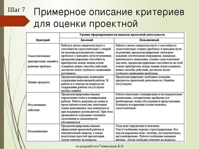 Примерное описание критериев для оценки проектной деятельности Шаг 7 по разра...