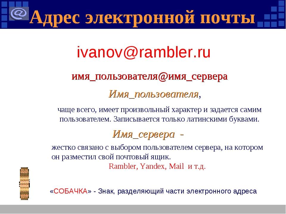 Адрес электронной почты Адрес электронной почты имя_пользователя@имя_сервера...