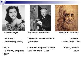 Vivien Leigh Sir Alfred Hitchcock Leonardo da Vinci - Actress - Director, sc