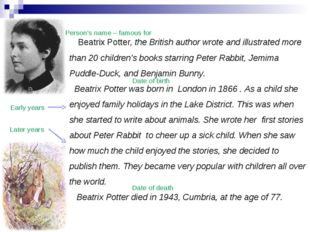 Beatrix Potter, the British author wrote and illustrated more than 20 childr