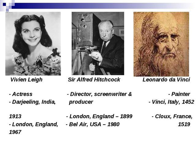 Vivien Leigh Sir Alfred Hitchcock Leonardo da Vinci - Actress - Director, sc...