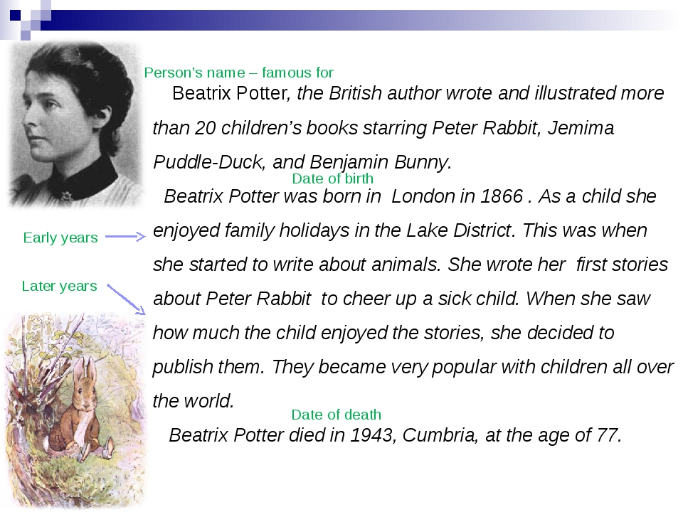 Beatrix Potter, the British author wrote and illustrated more than 20 childr...