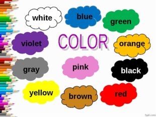 white blue green orange black pink red brown yellow gray violet