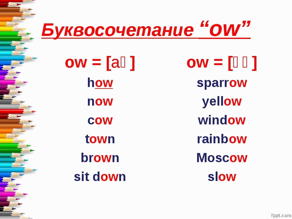 "Буквосочетание ""ow"" ow = [aʊ] how now cow town brown sit down ow = [əʊ] sparr..."