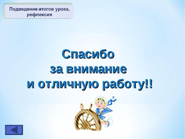 Спасибо за внимание и отличную работу!!