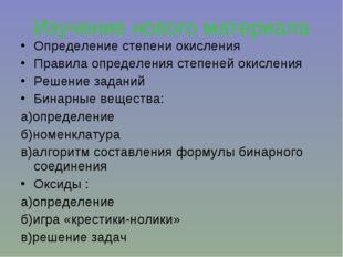 Изучение нового материала Определение степени окисления Правила определения с