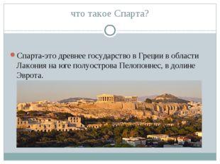 что такое Спарта? Спарта-это древнее государство в Греции в области Лакония н