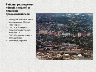 Районы размещения лёгкой, тяжёлой и пищевой промышленности. ЗАО ДЗМК «Метако»