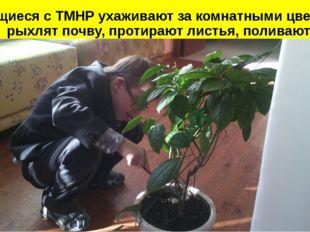 Учащиеся с ТМНР ухаживают за комнатными цветами: рыхлят почву, протирают лис
