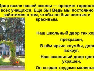 Двор возле нашей школы — предмет гордости всех учащихся. Еще бы! Ведь мы пост