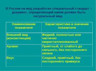 В России на мед разработан специальный стандарт – документ, определяющий каки