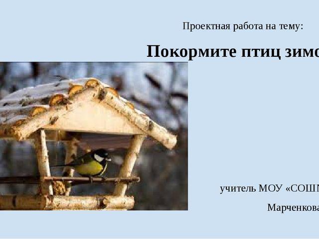 Проектная работа на тему: Покормите птиц зимой!   учитель МОУ «СОШ№75» Мар...