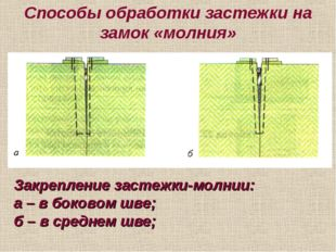 Способы обработки застежки на замок «молния» Закрепление застежки-молнии: а –