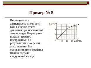 Пример № 5 Исследовалась зависимость плотности газа в сосуде от его давления