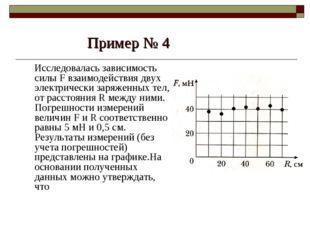 Пример № 4 Исследовалась зависимость силы F взаимодействия двух электрически