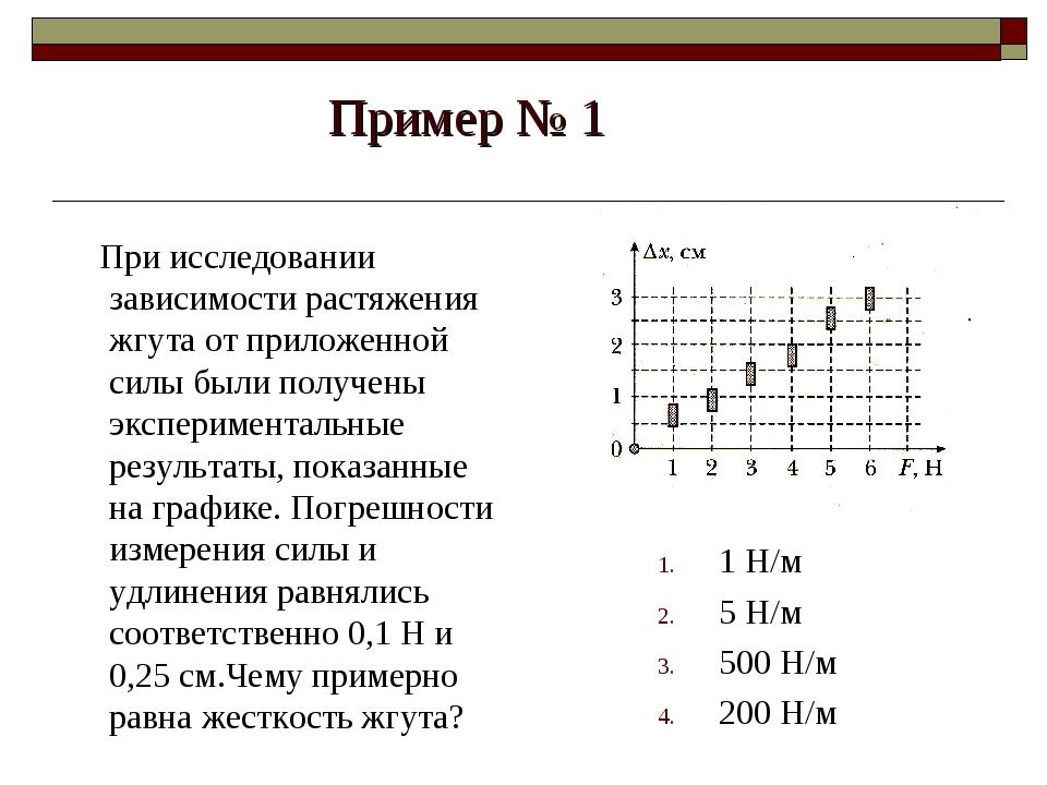 Пример № 1 При исследовании зависимости растяжения жгута от приложенной силы...