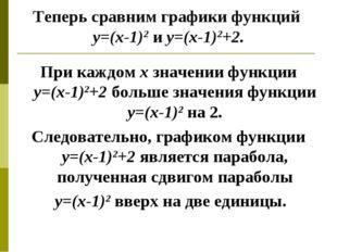Теперь сравним графики функций у=(х-1)2 и у=(х-1)2+2. При каждом х значении ф