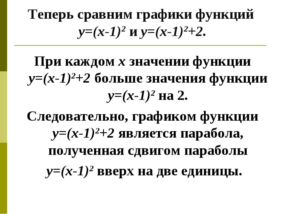 Теперь сравним графики функций у=(х-1)2 и у=(х-1)2+2. При каждом х значении ф...