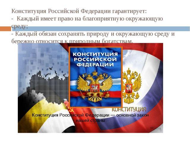 Конституция Российской Федерации гарантирует: - Каждый имеет право на благоп...
