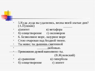 5.Куда ,куда вы удалились, весны моей златые дни?(А.Пушкин) а)эпитет в) метаф