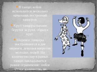 В танцах кейли используется несколько начальных построений танцоров: Круг: та