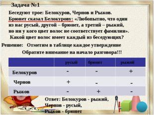 Задача №1 Беседуют трое: Белокуров, Чернов и Рыжов. Брюнет сказал Белокурову: