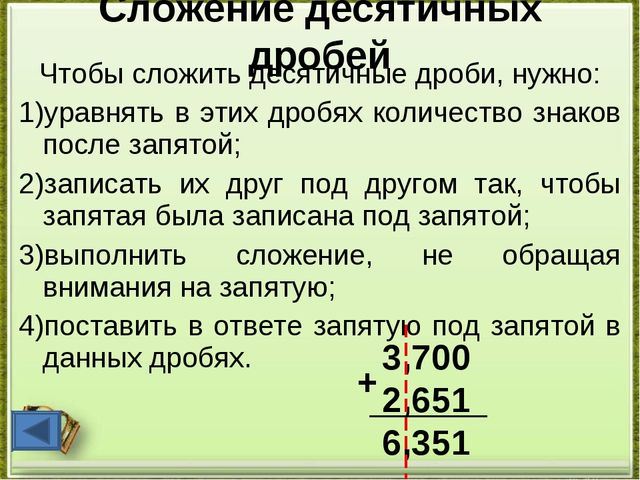 Сложение десятичных дробей Чтобы сложить десятичные дроби, нужно: 1)уравнять...