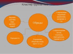 Кластер группы №3 Обряды Народность Украшения, обереги(кольцо, крест и т.д.)