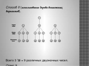 Способ II (использование дерева возможных вариантов). Всего 3 · 3 = 9 различ