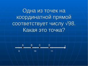 Одна из точек на координатной прямой соответствует числу √98. Какая это точка
