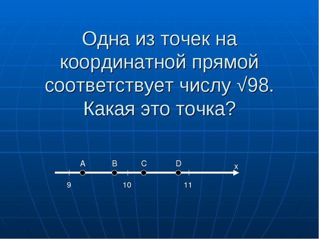 Одна из точек на координатной прямой соответствует числу √98. Какая это точка...