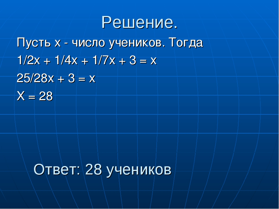 Решение. Пусть х - число учеников. Тогда 1/2х + 1/4х + 1/7х + 3 = х 25/28х +...