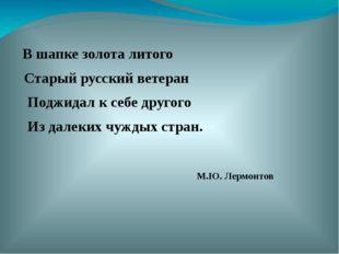 В шапке золота литого Старый русский ветеран Поджидал к себе другого Из дале
