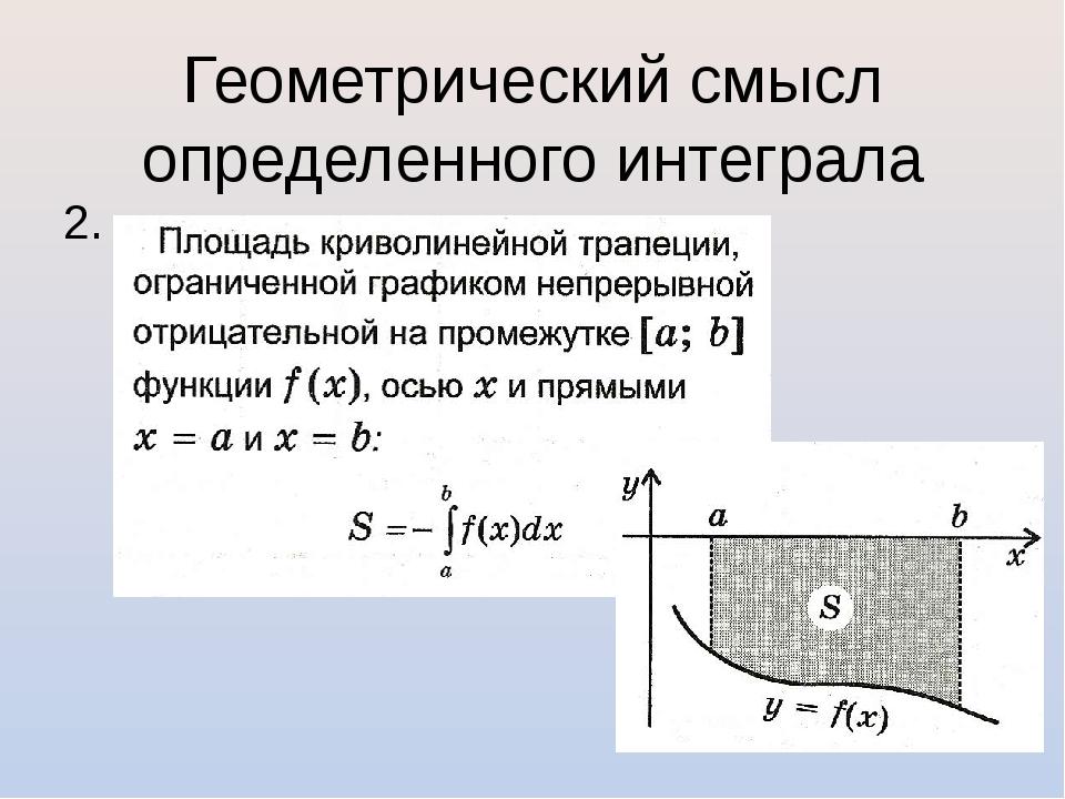 Геометрический смысл определенного интеграла 2.