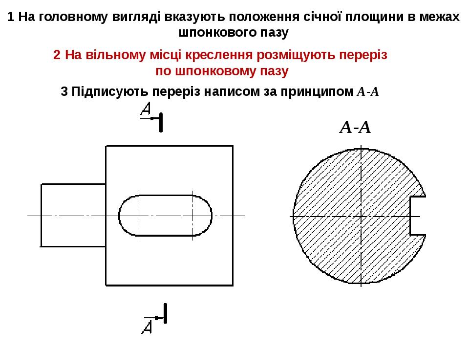1 На головному вигляді вказують положення січної площини в межах шпонкового п...