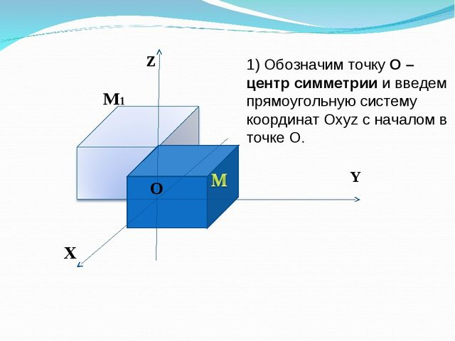 Z Y X O O M1 1) Обозначим точку О – центр симметрии и введем прямоугольную си...