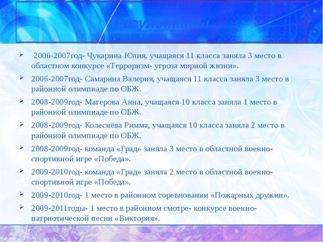 2006-2007год- Чукарина Юлия, учащаяся 11 класса заняла 3 место в областном к...