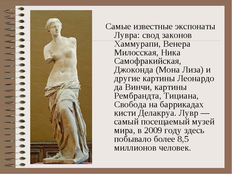 Самые известные экспонаты Лувра: свод законов Хаммурапи, Венера Милосская, Ни...