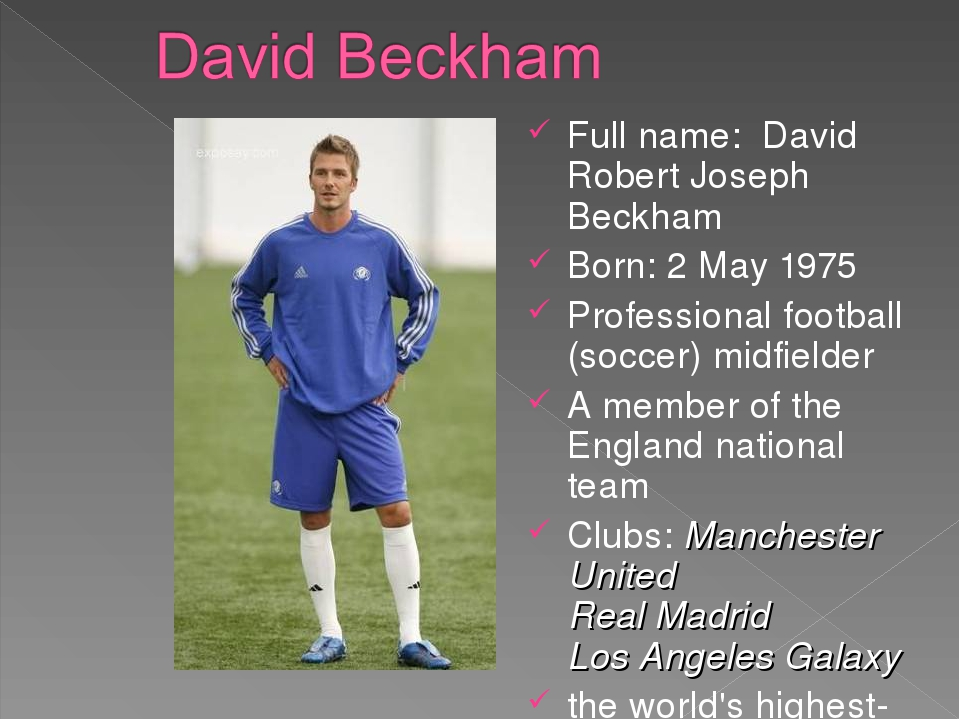 Full name: David Robert Joseph Beckham Born: 2 May 1975 Professional football...