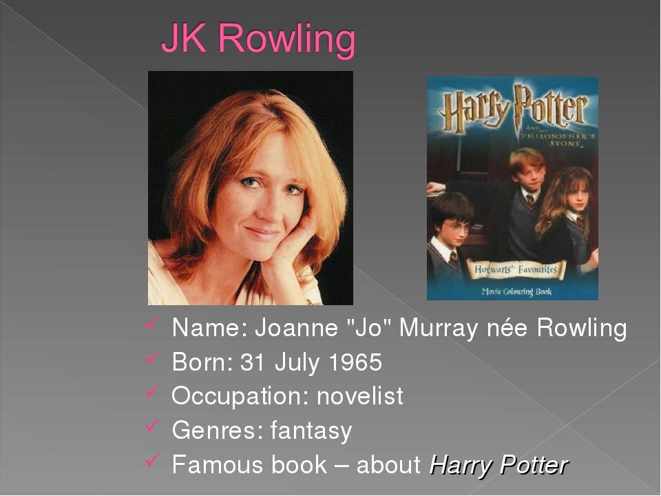 "Name: Joanne ""Jo"" Murray née Rowling Born: 31 July 1965 Occupation: novelist..."
