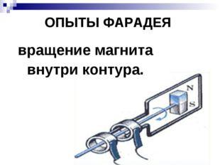 ОПЫТЫ ФАРАДЕЯ вращение магнита внутри контура.