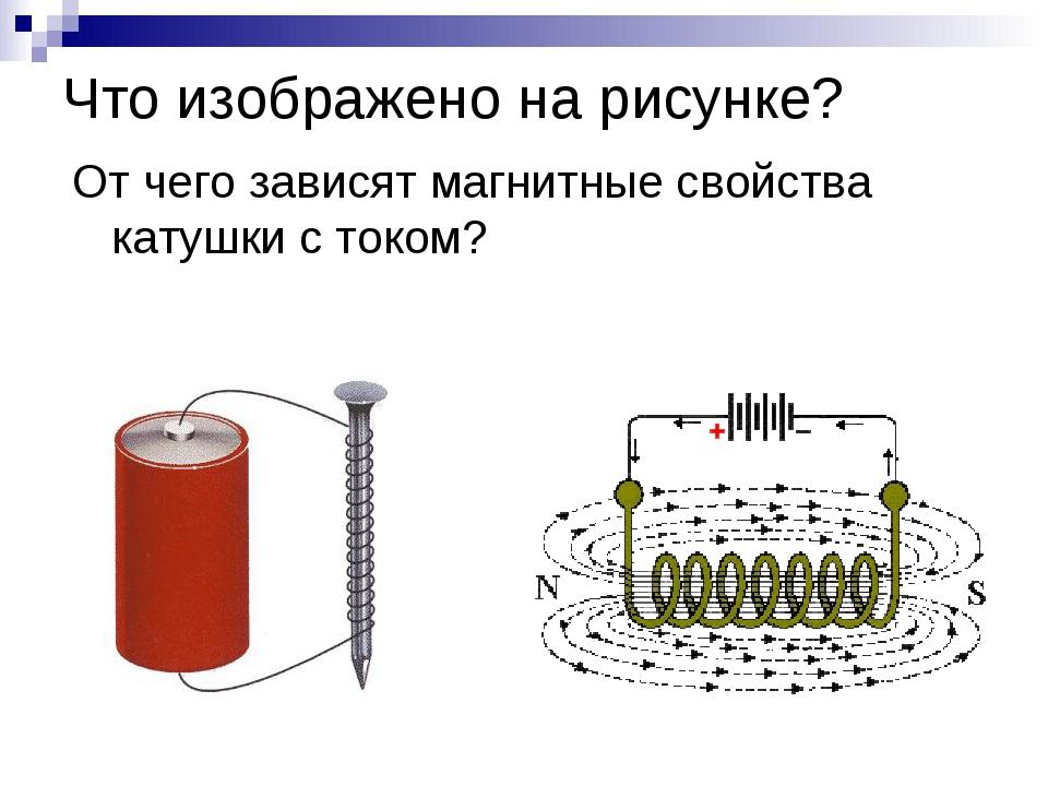 Что изображено на рисунке? От чего зависят магнитные свойства катушки с током?