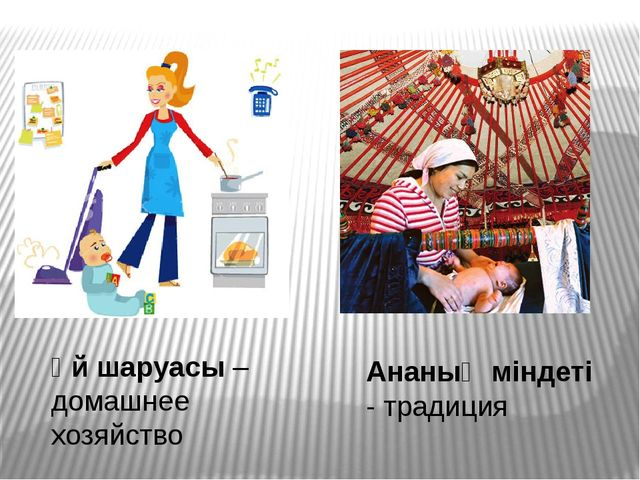 Ананың міндеті - традиция Үй шаруасы – домашнее хозяйство